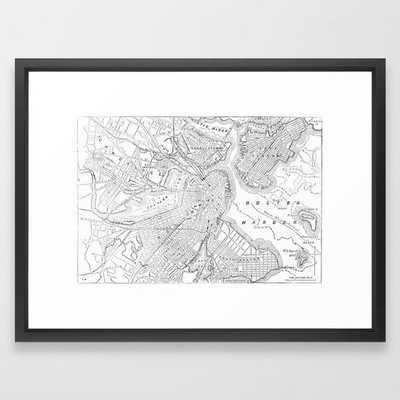 """Vintage Map of Boston (1878) Framed Art Print - 38"""" x 26"""" - Vector Black Frame - Society6"""