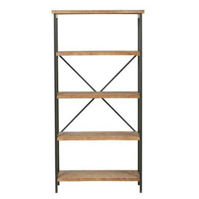 Winsten 22.00 in. Antique Brown Wood 4-Shelf Accent Bookcase - Home Depot