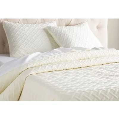 Pederson Reversible Coverlet Set in Ivory; Full / Queen - Wayfair