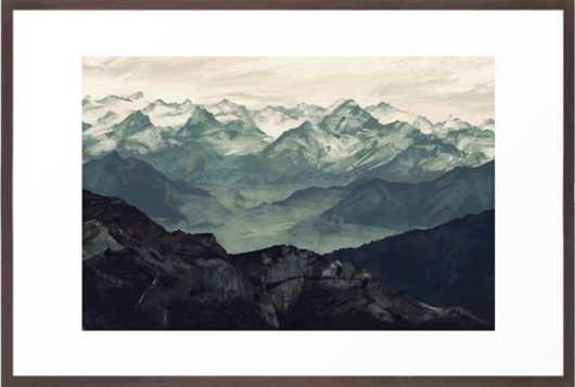 "Mountain Fog, Framed Art Print, Conservation Walnut, 26""x38"" - Society6"