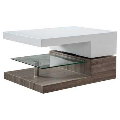 Bridgetown Rectangular Rotatable Coffee Table w/ Glass Glossy White/Oak - Christopher Knight Home - Target