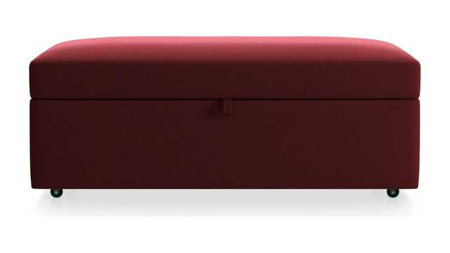 Lounge II Storage Ottoman with Tray,  View- Berry - Crate and Barrel