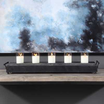 Cordero 15 in. x 24 in. Rustic Iron and Clear Glass Centerpiece Candle Holder, Browns/Tans - Hudsonhill Foundry
