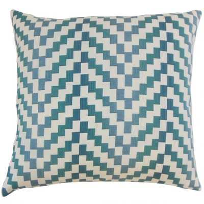 "DHIREN GEOMETRIC PILLOW LAGOON, 18"" with Down Insert - Linen & Seam"