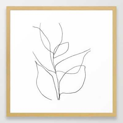 "Minimalist Line Art Plant Drawing Framed Art Print - 22"" sq. - Conservation Natural frame - Society6"