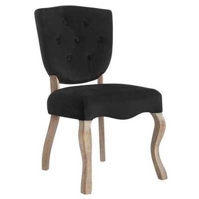 ARRAY VINTAGE FRENCH PERFORMANCE VELVET DINING SIDE CHAIR IN BLACK - Modway Furniture