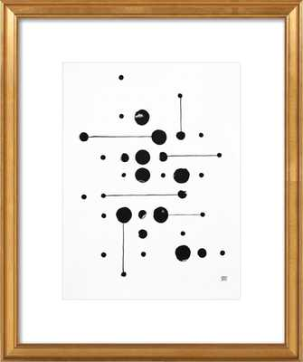 34 Dots 6 Lines - 16x20 with matte and gold leaf frame - Artfully Walls
