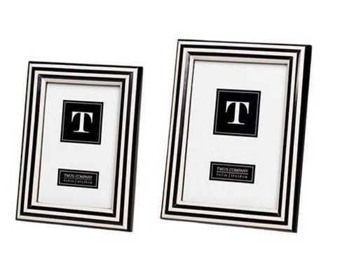 Stripe Black/White Frame/Set Of 2 - Pine Cone Hill