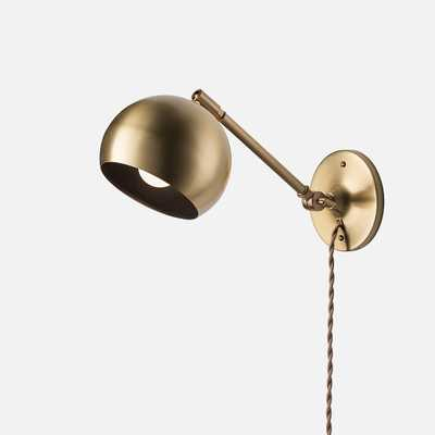 Isaac Plug-In Sconce Brass - Long Arm - Schoolhouse Electric