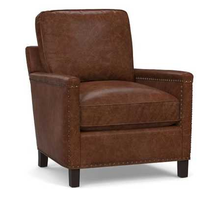 Tyler Leather Armchair with Bronze Nailheads, Down Blend Wrapped Cushions, Leather Statesville Molasses - Pottery Barn