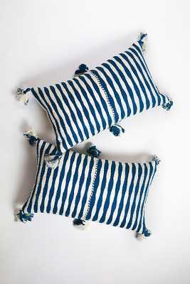 Archive New York Dark Teal Blue Stripe Antigua Pillow - Anthropologie