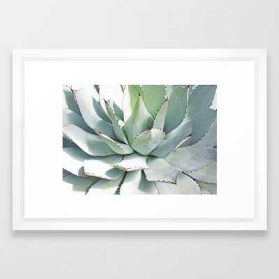 """Agave plant Framed Art Print - 15"""" x 21"""" - Vector White - Society6"""