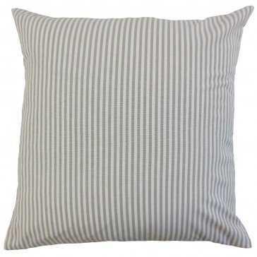 "Ira Stripes Pillow Slate - 20"" x 20"" - Down Insert - Linen & Seam"