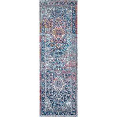 Persian Vintage Raylene Blue 3 ft. x 12 ft. Runner Rug - Home Depot