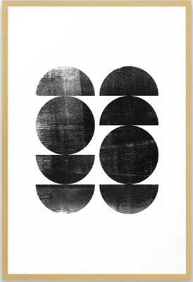 Black and White Mid Century Modern Circles Abstract Framed Art Print - 26 x 38 - Conservation Natural - Society6