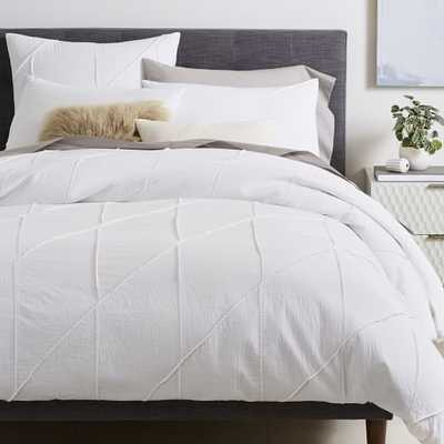 Organic Pleated Grid Duvet Cover, King, White - West Elm