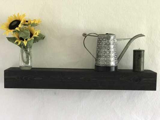 Reclaimed Wood Floating Shelf - Ebony - Wayfair