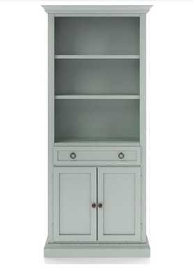 Cameo Blue Grey Storage Bookcase with Full Crown - Crate and Barrel