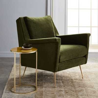 Carlo Mid-Century Chair, Velvet, Olive, Brass - West Elm