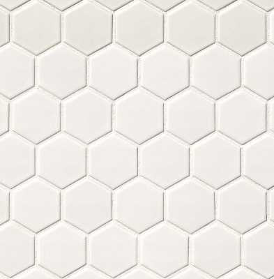 "Hexagon 2"" x 2"" Porcelain Mosaic Tile in Matte White - Wayfair"