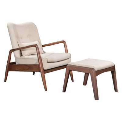 Bully Lounge Chair & Ottoman Beige - Zuri Studios