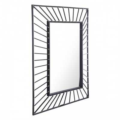 Sunburst Rectangular Mirror Black Black - Zuri Studios