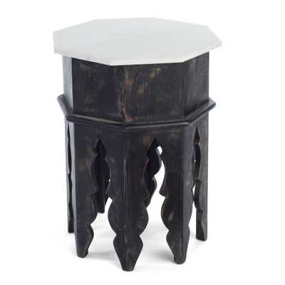 MARBLE AND WOOD MOROCCAN SIDE TABLE - Wisteria