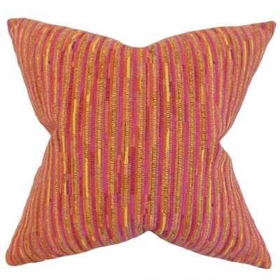 Qiturah Stripes Throw Pillow - Yellow - 18 x 18 with down insert - Linen & Seam