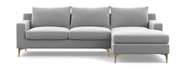 "SLOAN Sectional Sofa with Right Chaise - ash performance felt, black matte legs, 96"" - Interior Define"