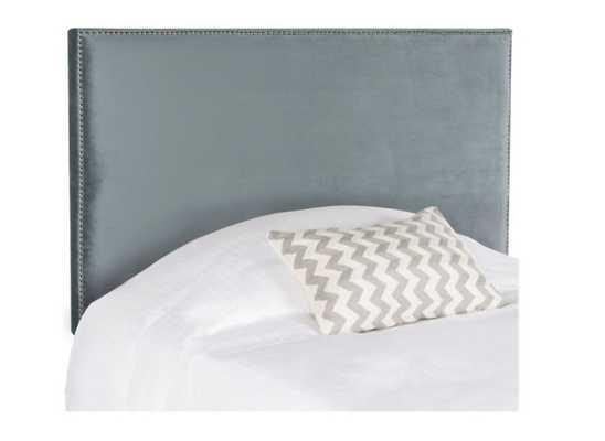 Safavieh Sydney Queen Upholstered Headboard in Wedgewood Velvet with Silver Nailhead Trim - Bed Bath & Beyond