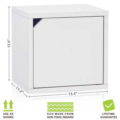 Connect System 13.4 in. x 12.6 in. zBoard Stackable Storage 1-Cube Organizer Unit with Door in Pearl White - Home Depot