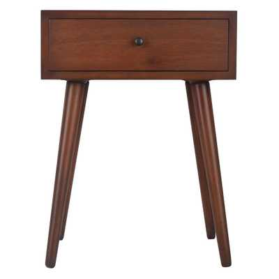 Mid Century Walnut 1-Drawer End Table - Home Depot