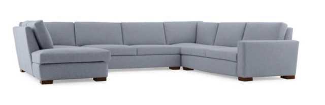 Gray Anton Mid Century Modern U-Sofa Bumper Sectional - Dawson Slate - Mocha - Left - Joybird