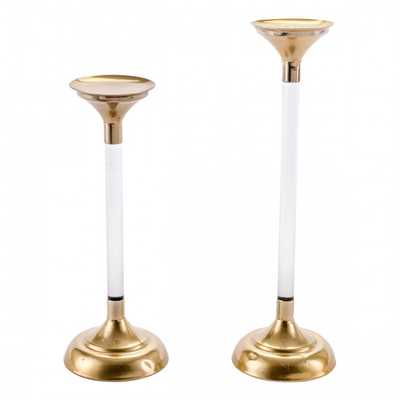 Set Of 2 Lucite Candle Holders Gold - Zuri Studios