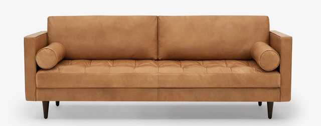 Briar Leather Sofa in Santiago Caramel Leather with Mocha Wood Stain - Joybird