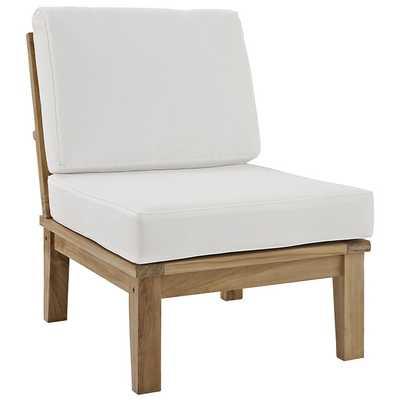 MARINA ARMLESS OUTDOOR PATIO TEAK SOFA IN NATURAL WHITE - Modway Furniture