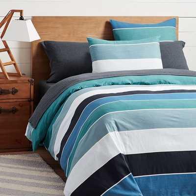 Kelly Slater Organic Tide Stripe Duvet Cover, Full/Queen, Blue Multi - Pottery Barn Teen