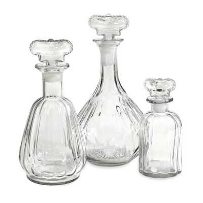 Sable Decantor w/ Crown Stopper - Set of 3 - Mercer Collection