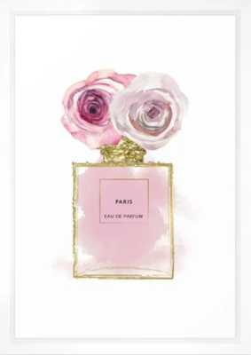 Pink & Gold Floral Fashion Perfume Bottle Framed Art Print - Society6