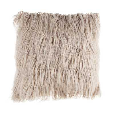 Coffee 18 in. W x 18 in. L Faux Mongolian Fur Decorative Throw Pillow - Home Depot