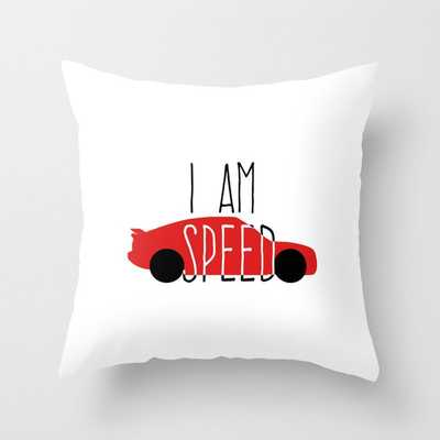 I am speed race car hand printing Throw Pillow - Society6