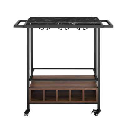 34 in. Black Marble Serving Bar Cart with Dark Walnut Base - Home Depot