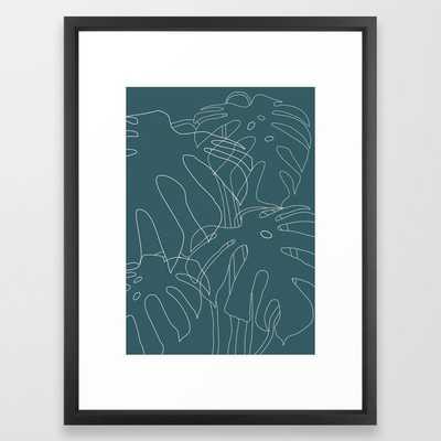 Monstera No2 Teal Framed Art Print - Vector Black Medium - Society6