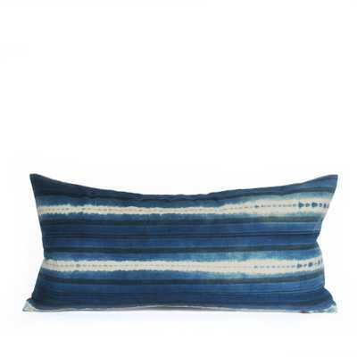 INDIGO SHIBORI MUD CLOTH LUMBAR PILLOW - PillowPia