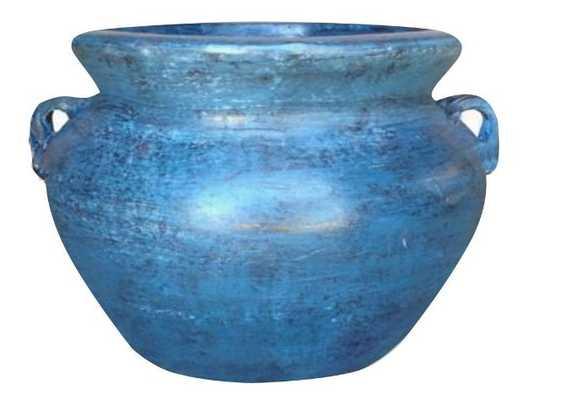 14 in. Dia Smooth Handle Ocean Azure Clay Pot - Home Depot