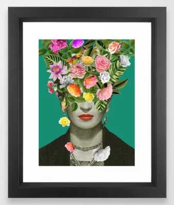 "Frida Floral Framed Art Print - Vector Black Mini 10"" x 12"" by Desireefeldmann - Society6"