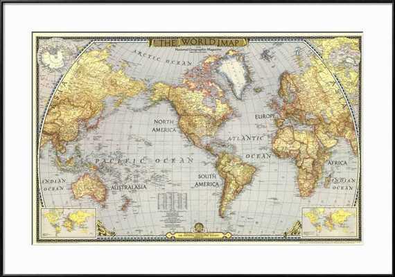 1943 WORLD MAP with Ronda Frame - art.com