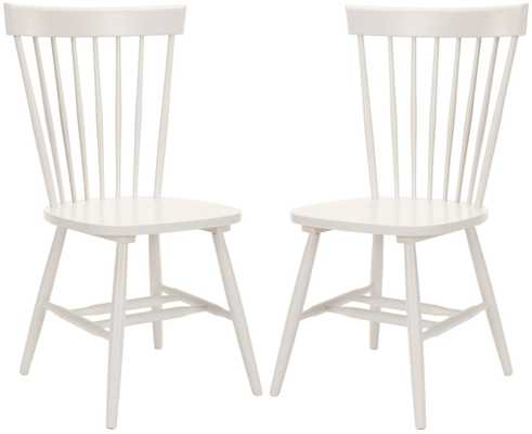 """PARKER 17""""H SPINDLE DINING CHAIR (SET OF 2), OFF-WHITE - Arlo Home"""