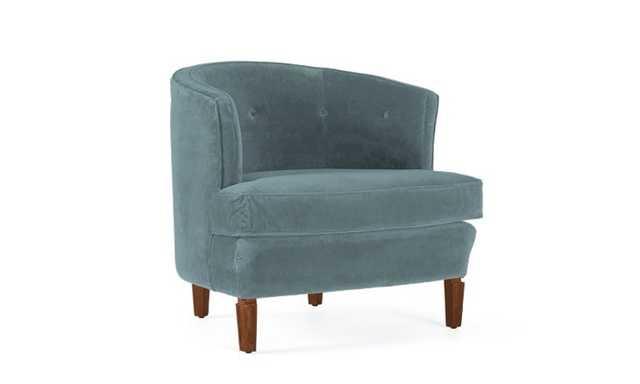 Blue Leigh Mid Century Modern Chair - Essence Aqua - Mocha - Joybird