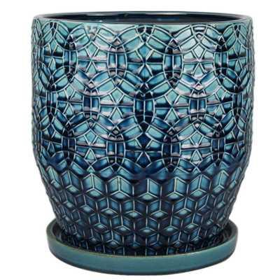 12 in. Dia. Dark Blue Ceramic Rivage Pot - Home Depot